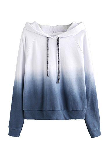 SweatyRocks Women's Long Sleeve Hoodie Sweatshirt Colorblock Tie Dye Print Pullover Shirt Blouse (Medium, White_Navy)