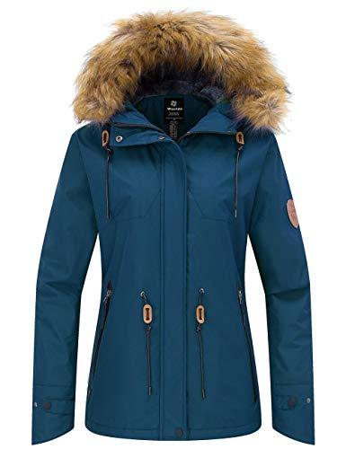 Wantdo Women's Waterproof Ski Jacket Cotton Padded Winter Raincoat Blue Black XL