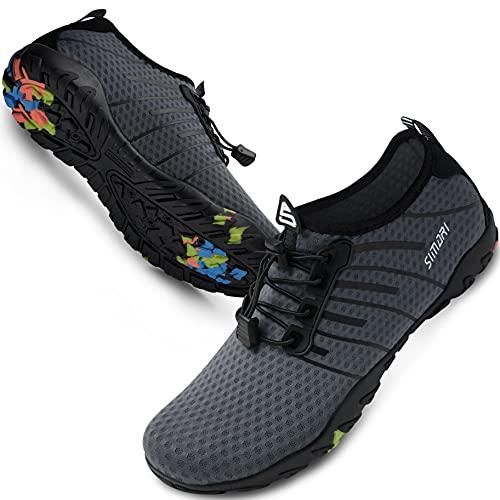 SIMARI Water Shoes Mens Womens Sports Quick Dry Barefoot Diving Swim Surf Aqua Walking Beach Yoga 209 Gray