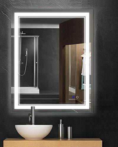 Keonjinn 36'x 28' Bathroom Mirror Horizontal/Vertical Anti-Fog Wall Mounted Makeup Mirror with LED Light Over Vanity