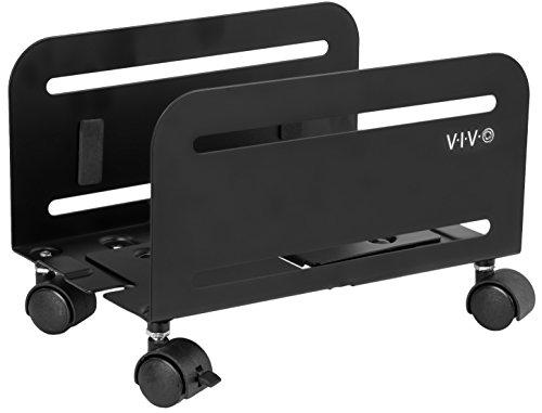 VIVO Computer Tower Desktop ATX-Case, CPU Steel Rolling Stand, Adjustable Mobile Cart Holder with Locking Caster Wheels, Black, CART-PC01