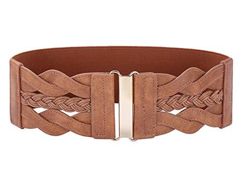 Womens 1950s Vintage Belt Stretch Retro Wide Waist Cinch Belts for Dress Brown L