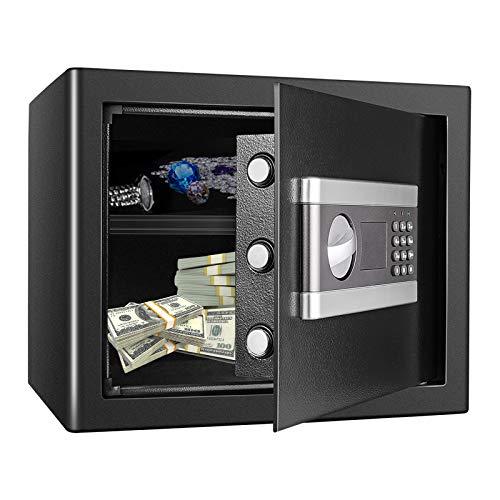 Kacsoo 1.2 Cub Fireproof Safe Box, Digital Cabinet Security Box Combination Lock Safe with Keypad LED Indicator, for Pistol Cash Jewelry Important Documents