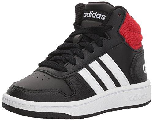 adidas Unisex Hoops Mid 2.0 Basketball Shoe, black/white/red, 4 Big Kid