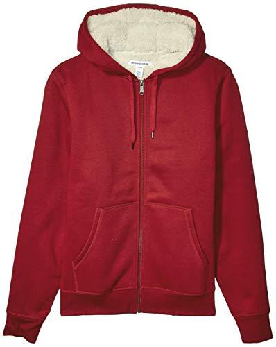 Amazon Essentials Men's Sherpa Lined Full-Zip Hooded Fleece Sweatshirt, Red, Large
