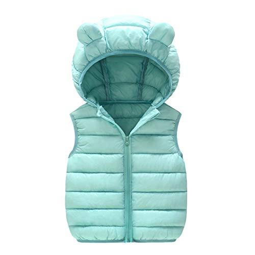 Mousmile Toddler Baby Boys Girls Puffer Vest Winter Warm Cotton Padded Down Jacket Cute Bear Ears Hooded Coat Outwear (Green, 2-3 Years)