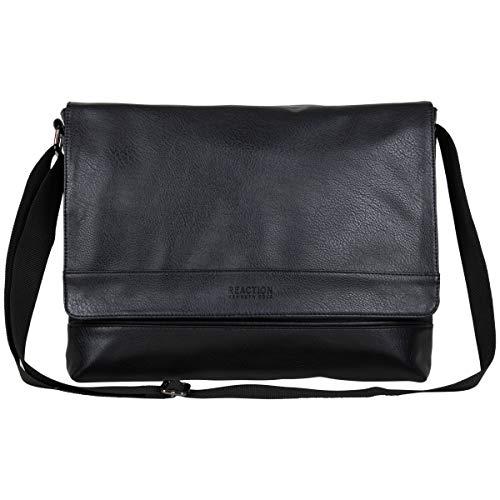 Kenneth Cole REACTION Grand Central Vegan Leather Laptop & Tablet Crossbody Travel Messenger Bag, Black, 15' Laptop