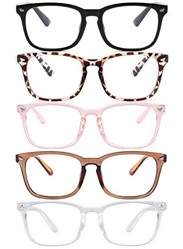 Clear Ant Blue Light Blocking Glasses,Square Nerd Eyeglasses Frame Anti Blue Ray Computer Game Glasses Anti Eyestrain & UV(5Pcs)