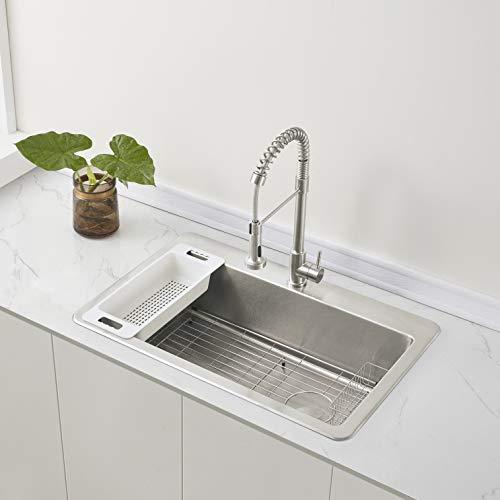 "Zuhne Offset Drain Kitchen Sink 16 Gauge Stainless Steel (33"" by 22"" Drop-In Top Mount)"