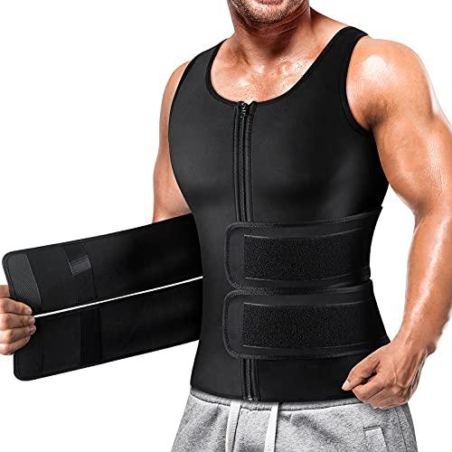 Cimkiz Sauna Vest for Mens Waist Trainer Zipper Neoprene Sauna Suit Tank Top