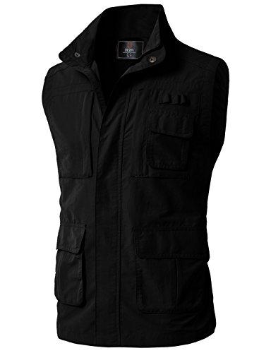 H2H Men's Tactical Multi Pocket Zip Up Vests Black US XL/Asia 2XL (KMOV0152)