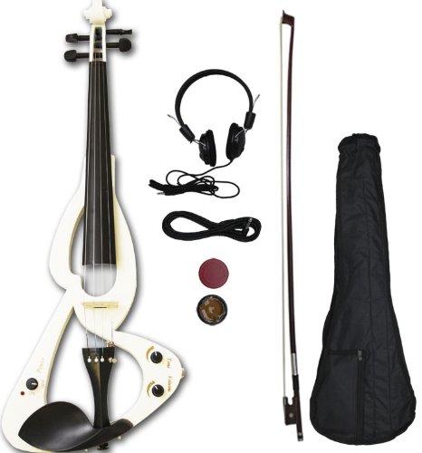 Crescent EV-WT Full Size 4/4 Electric Violin Starter Kit, White (Includes CrescentTM Digital E-Tuner)