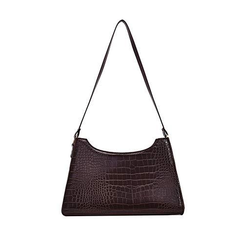 AMHDV Retro Shoulder Bag Crocodile Pattern Handbags for Women (coffee)