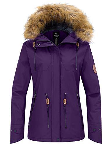 Wantdo Women's Cotton Padded Winter Jacket Waterproof Ski Coat Dark Purple 2XL