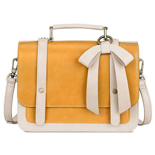 ECOSUSI Small Crossbody Bags Vintage Satchel Work Bag Vegan Leather Shoulder Bag with Detachable Bow, Yellow