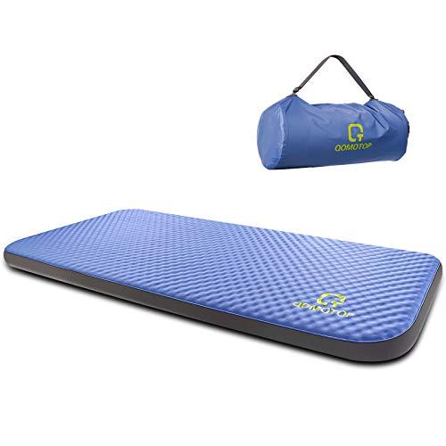 "QOMOTOP Ultra Comfortable Side Sleep Friendly Single Self-Inflating Camping Mattress, 80""×28""×4"" Sleeping Pad, 7.5 lbs Portable Roll-Up Camping Mattress, 4 Inches PU Foam, 24h Without Leaks - Blue"