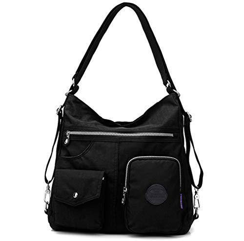 Multipurpose Hobo Purse for Women with Antitheft RFID, Waterproof Nylon Crossbody Bag Shoulder Handbag, Convertible Backpack