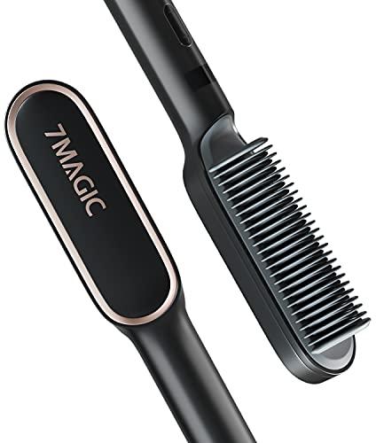 Hair Straightener Brush, Hair Straightener Comb with Built-in Iron, 20s Fast Heating Straightening Comb, 7MAGIC Hair Straightening Brush with 9 Temp Settings & Anti-Scald Safe for Women