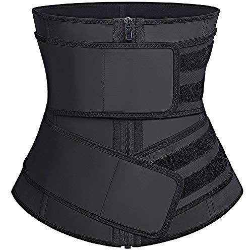 FeelinGirl Women's Latex Sport Girdle Waist Training Corset Waist Shaper Black L