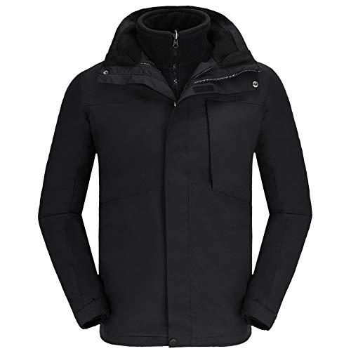 CAMELSPORTS Men's Mountain Ski Jacket 3 in 1 Waterproof Winter Jacket Warm Snow Jacket Hooded Rain Coat Windproof Winter Coat Black