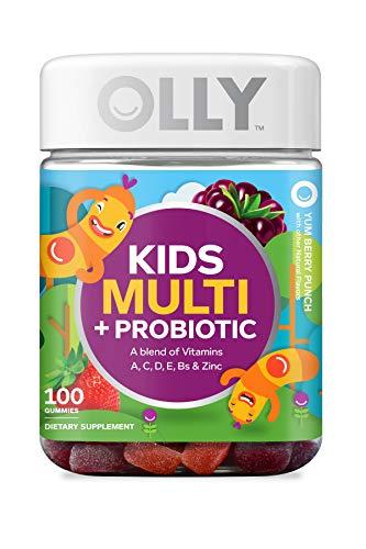 OLLY Kids Multi + Probiotic Gummy Multivitamin, 50 Day Supply (100 Gummies), Yum Berry Punch, Vitamins A, C, D, E, B, Zinc, Probiotics, Chewable Supplement