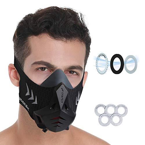 FDBRO Sports Mask Pro Workout Training Mask Fitness,Running,Resistance,Cardio,Endurance Mask for Fitness Training Sport Mask (Black, M)