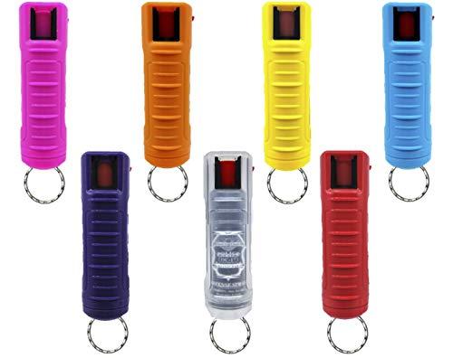 POLICE MAGNUM Pepper Spray Keychains - Max Strength OC Spray - 10-12 ft Range - 7 Pack Combo 1/2oz Rainbow Molded Cases