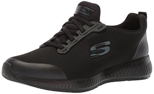 Skechers for Work Women's Squad SR Food Service Shoe, black flat knit, 7.5 W US