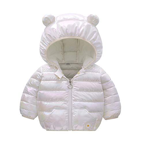 Mousmile Newborn Toddler Baby Boys Girls Puffer Jacket Winter Warm Cotton Padded Jacket Bear Ears Hooded Coat (3-6 Months, White)