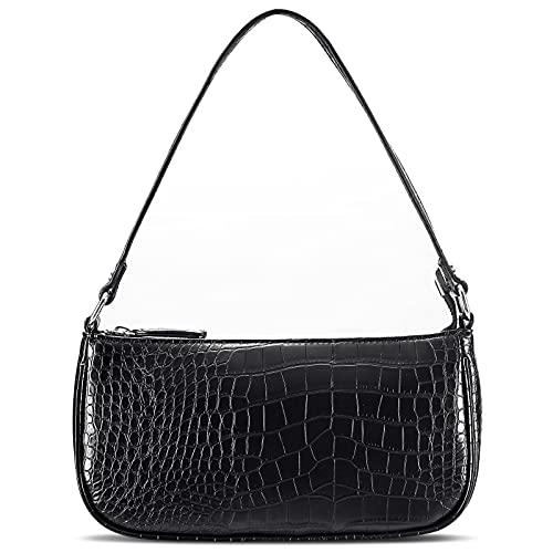 Retro Classic Clutch Shoulder Bag for Women Vegan Leather Croc Small Purse with Zipper Closure (Black Vegan)