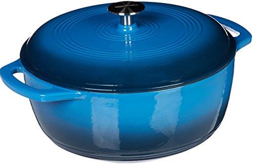 AmazonBasics Enameled Cast Iron Covered Dutch Oven, 7.3-Quart, Blue