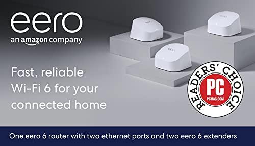 Amazon eero 6 dual-band mesh Wi-Fi 6 system with built-in Zigbee smart home hub (3-pack, one eero 6 router + two eero 6 extenders)