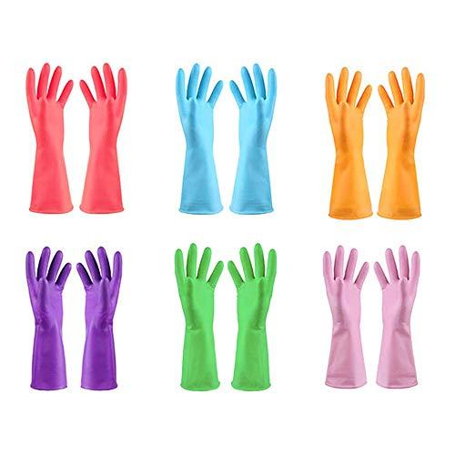 URSMART Dishwashing Household Gloves -6 Pairs Rubber Kitchen Gloves Waterproof Dishwashing Gloves Medium for Kitchen Dish Washing Laundry Cleaning(Color Random)