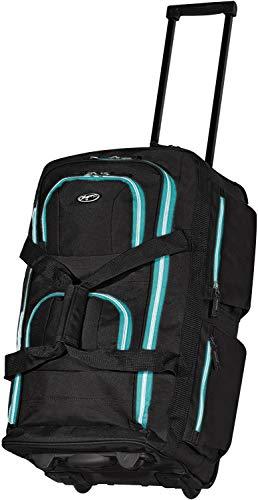 Olympia 8 Pocket Rolling Duffel Bag, Black/Teal, 22 inch