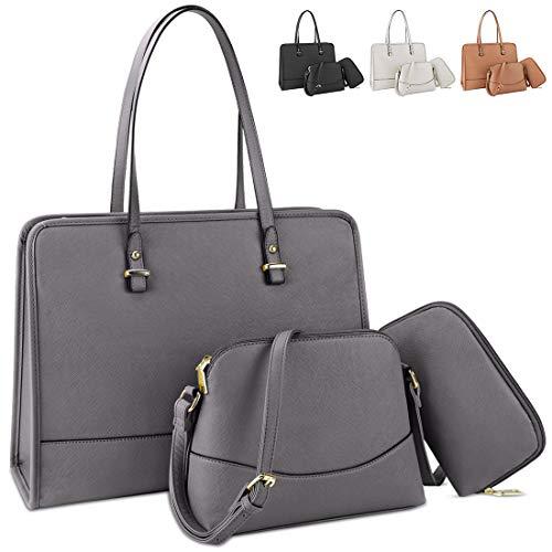 Handbags for Women Top Handle Satchel Tote Bag Waterproof Lightweight Shoulder Bag Leather Women Large Capacity Fashion Messenger Work Bag 3pcs Purse Set Grey