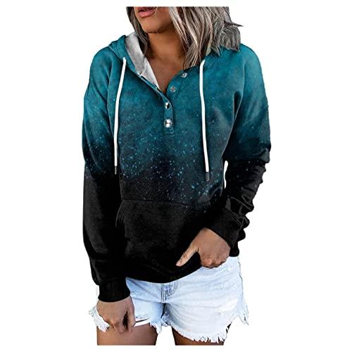 Hoodies for Women Pullover, Womens Casual Loose Hooded Sweatshirt Tie Dye Print Long Sleeve Drawstring Pullover Tops