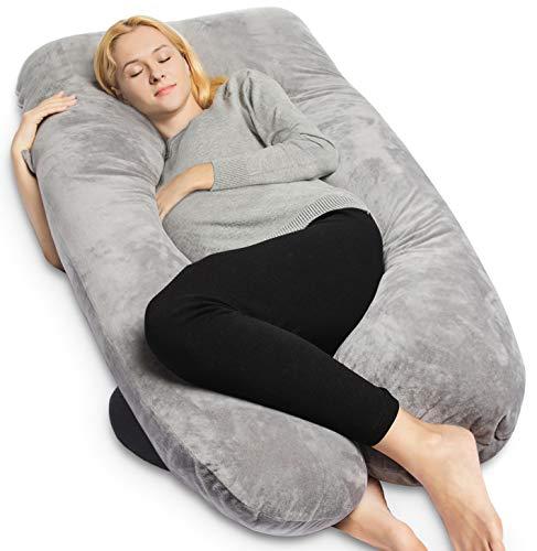 QUEEN ROSE Pregnancy Pillow -U-Shape with Velvet Cover,Full Body Maternity Pillow for Pregnant Women Sleeping,Gray