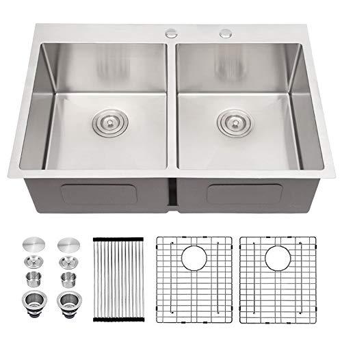 Drop In Kitchen Sink - Sarlai 33 Inch Kitchen Sink Double Bowl 50/50 Round Corner Stainless Steel 16 Gauge Topmount Drop Sink Basin