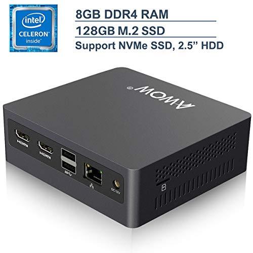 Mini PC Windows 10 AWOW Mini Desktop Computer Intel Celeron N3450, 8GB DDR4 128GB SSD 4K HD, HDMI x2, Dual Band WiFi, USB x4 Gigabit Ethernet, BT 4.2 AL34 Micro PC