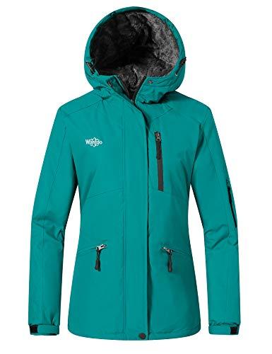 Wantdo Women's Waterproof Ski Jacket Mountain Windproof Winter Warm Rain Coat Dark Blue 2XL