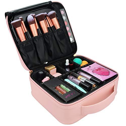 Relavel Makeup Case Travel Makeup Bag for Women Makeup Train Case Cosmetic Bag Toiletry Makeup Brushes Organizer Portable Travel Bag Artist Storage Bag with Adjustable Dividers (Pink)