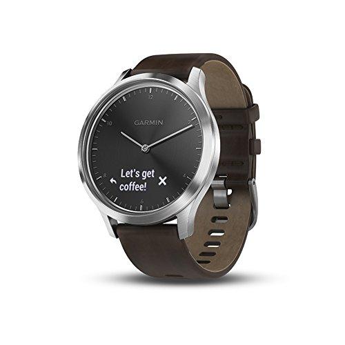Garmin vivomove HR, Hybrid Smartwatch for Men and Women, Black/Silver with Dark Brown Leather Band