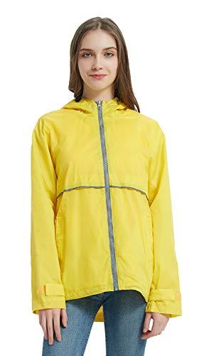 SUNDAY ROSE Women Rain Jacket Lightweight Waterproof Raincoat Hooded Windbreaker-Yellow,Size S