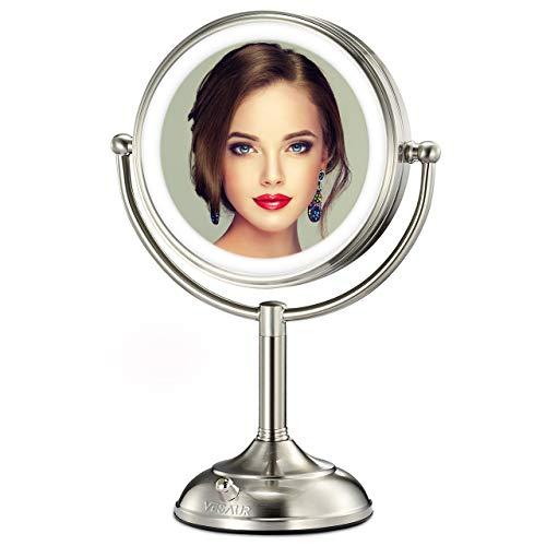 VESAUR Professional 7.5' Lighted Makeup Mirror, 10X Magnifying Vanity Mirror with 28 Medical LED Lights, Senior Pearl Nickel Cosmetic Mirror, Brightness Adjustable(0-1100Lux) Desk Lamp Alternative