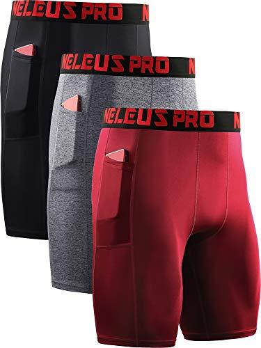 Neleus Men's Compression Shorts with Pockets 3 Pack,6064,Black/Grey/Red,US S,EU M