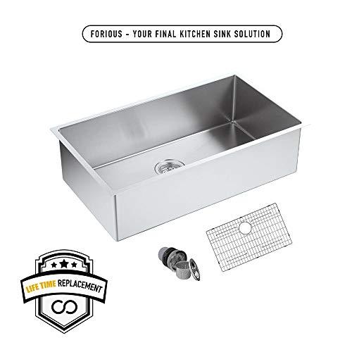 FORIOUS 30 Undermount kitchen Sink, 16 Gauge Stainless Steel Kitchen Sink Single Bowl Undermount,Brushed Nickel Utility Sinks with Sink Strainer Stainless Steel and Dish Grid, RV Sink