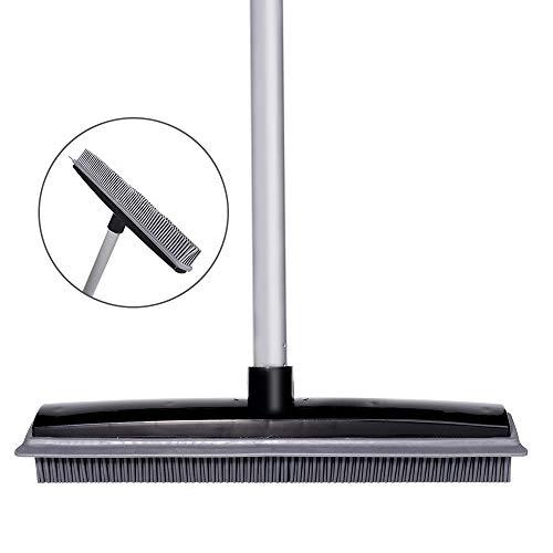 TNELTUEB Soft Push Broom Bristle Rubber 59'' Squeegee Broom with Adjustable Long Handle for Pet Cat Dog Hair Carpet Hardwood Floor Tile Windows Cleaning (Black)