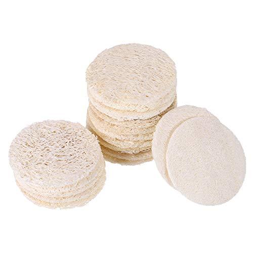 Frcolor 50 Pcs Loofah Face Pads Exfoliating Loofah Sponges Makeup Remover Reusable Soft Facial Skin Care Scrub Wash Pads