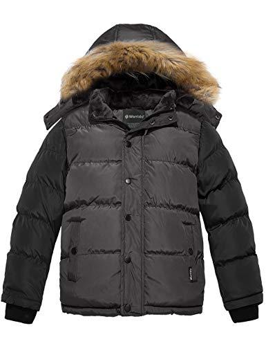 Wantdo Boy's Warm Puffer Jacket Thick Cotton Padded Winter Coat Grey 10/12