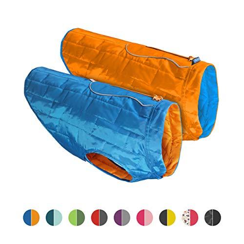 Kurgo Dog Jacket | Reversible Winter Coat for Dogs | Fleece Vest for Pets | Reflective | Wear with Harness | Water Resistant Loft Jacket | For Small Medium Large Pets (Blue/Orange, Large) (K01849)